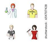 woman chemist  football player  ... | Shutterstock .eps vector #654707428