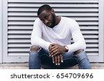 handsome afro american man...   Shutterstock . vector #654709696