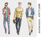 young stylish men hand drawn... | Shutterstock . vector #654711688