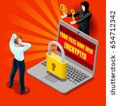 ransomware malware wannacry... | Shutterstock .eps vector #654712342