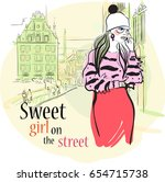 sweet girl fashion illustration.... | Shutterstock .eps vector #654715738