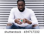 afro american man wearing...   Shutterstock . vector #654717232