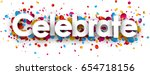 celebrate paper banner with... | Shutterstock .eps vector #654718156