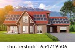 house with solar panels system...   Shutterstock . vector #654719506