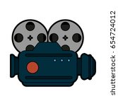 vintage film projector icon... | Shutterstock .eps vector #654724012