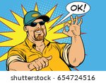 the bearded male and gesture... | Shutterstock .eps vector #654724516