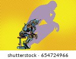 robot thinker with the shadow... | Shutterstock .eps vector #654724966