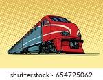 high speed passenger train.... | Shutterstock .eps vector #654725062