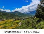 Bhutan, Punakha, panoramic view of valley from Lobesa towards Wangdue Phodrang. Rice crops between the rivers Pho Chhu and Mo Chhu.