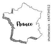 hand drawn  of  france map ... | Shutterstock .eps vector #654734512
