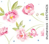 seamless   pink red peony rose... | Shutterstock . vector #654734626