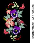embroidery pansies  violets ... | Shutterstock .eps vector #654736828
