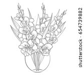 vector bouquet with gladiolus... | Shutterstock .eps vector #654739882