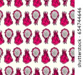 seamless pattern with ink hand... | Shutterstock .eps vector #654744646