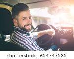 handsome elegant serious man... | Shutterstock . vector #654747535