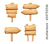 old wooden blank cartoon sign... | Shutterstock . vector #654752536