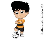 kid stand with ball.vector and... | Shutterstock .eps vector #654757156