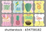 set of labels with summer... | Shutterstock .eps vector #654758182