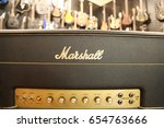 close up of a marshall guitar... | Shutterstock . vector #654763666