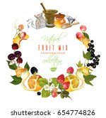 vector vintage fruit and berry... | Shutterstock .eps vector #654774826