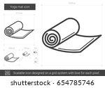 yoga mat vector line icon... | Shutterstock .eps vector #654785746