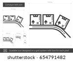 conveyor belt vector line icon... | Shutterstock .eps vector #654791482