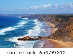 beautiful waves at west coast... | Shutterstock . vector #654799312