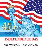 independence day. statue of... | Shutterstock .eps vector #654799756