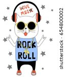 Rock And Roll Cat Illustration...