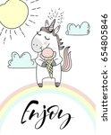 cute unicorn with ice creams....   Shutterstock .eps vector #654805846