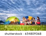 group of asian friends enjoy... | Shutterstock . vector #654809368