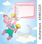 greeting card. the elephant... | Shutterstock .eps vector #654811225