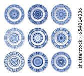 set of decorative plates with a ... | Shutterstock .eps vector #654814336