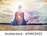 yoga and meditation symbol | Shutterstock . vector #654815422
