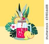 red lemonade  vector... | Shutterstock .eps vector #654816688