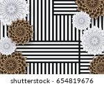 white and gold paper flowers on ... | Shutterstock .eps vector #654819676
