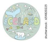 hand drawn cartoon iceland map... | Shutterstock .eps vector #654820225