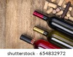 glass bottle of wine with corks ... | Shutterstock . vector #654832972