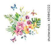 tropical summer watercolor... | Shutterstock . vector #654841222