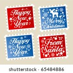 New Year postage stamps set. - stock vector