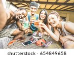 multiracial happy friends group ...   Shutterstock . vector #654849658