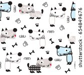 seamless pattern with dog  dog... | Shutterstock .eps vector #654849676