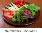 Grilled Beef On White Plate ...