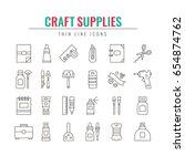 craft supplies and materials....   Shutterstock .eps vector #654874762