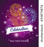 fireworks background ... | Shutterstock . vector #654874876