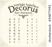 alphabet. vintage decorative... | Shutterstock .eps vector #654877492