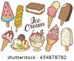 ice cream set of sweet dessert... | Shutterstock .eps vector #654878782