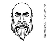 severe looking bald man with... | Shutterstock .eps vector #654889072