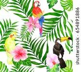 seamless tropical background... | Shutterstock . vector #654891886
