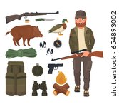 hunting icons set  hunter with... | Shutterstock .eps vector #654893002